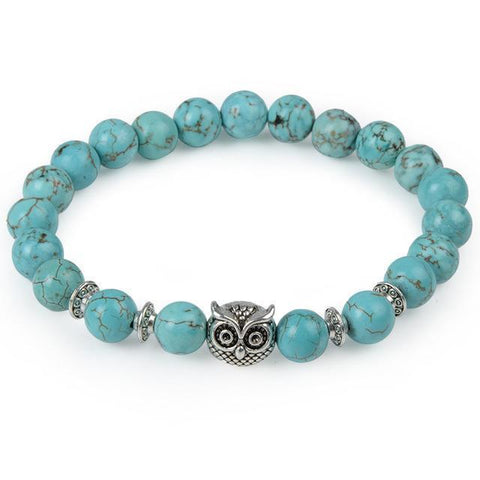 Image of Cool Animal Bracelet with Lava Stone Beads Charm Bracelets turquoise owl
