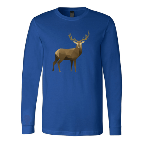 Real Polygonal Deer T-shirt Canvas Long Sleeve Shirt Royal S