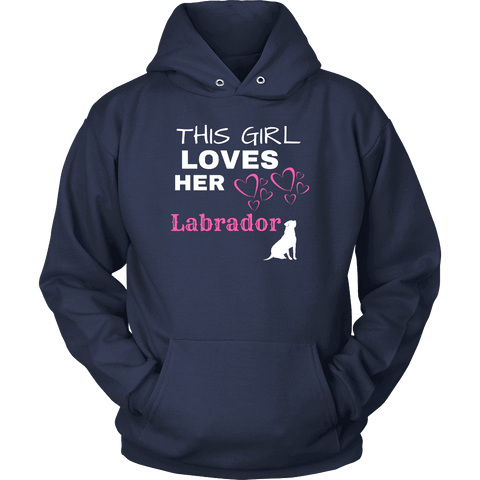 Image of This Girl Loves Her Lab T-shirt Unisex Hoodie Navy S