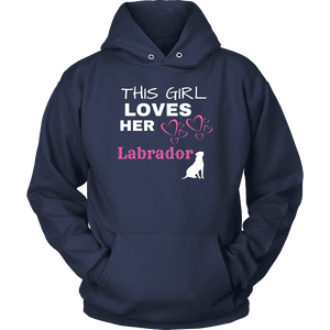This Girl Loves Her Lab T-shirt Unisex Hoodie Navy S