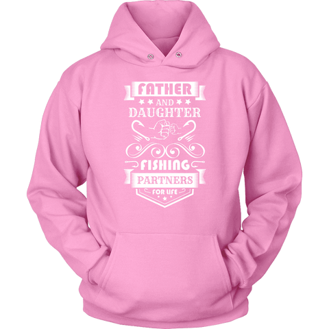 Image of Father and Daughter Fishing Partners T-shirt Unisex Hoodie Pink S