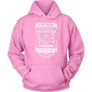 Father and Daughter Fishing Partners T-shirt Unisex Hoodie Pink S