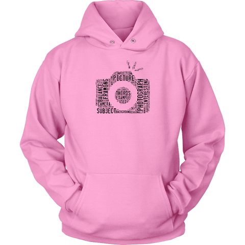 Awesome Word Camera Shirt T-shirt Unisex Hoodie Pink S