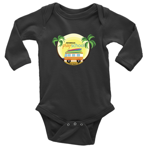 Image of Newbreak Playschool Onesie T-shirt Long Sleeve Baby Bodysuit Black NB