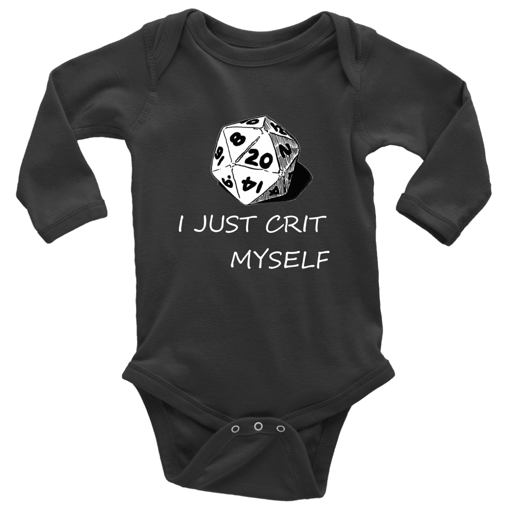 I Just Crit Myself Onsies T-shirt Long Sleeve Baby Bodysuit Black NB