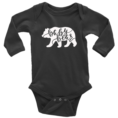 Baby Bear Shirts and Onesies T-shirt Long Sleeve Baby Bodysuit Black NB