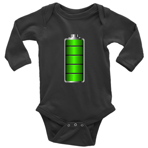 Image of Fully Charged Onsies T-shirt Long Sleeve Baby Bodysuit Black NB