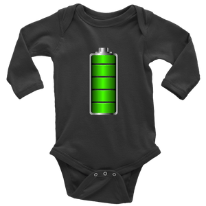 Fully Charged Onsies T-shirt Long Sleeve Baby Bodysuit Black NB