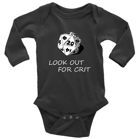 Image of Look Out For Crit Onesies T-shirt Long Sleeve Baby Bodysuit Black NB