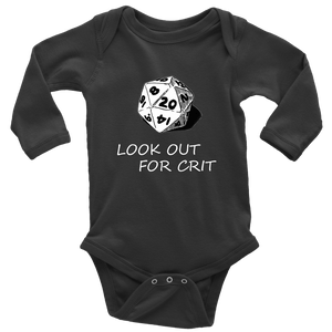 Look Out For Crit Onesies T-shirt Long Sleeve Baby Bodysuit Black NB