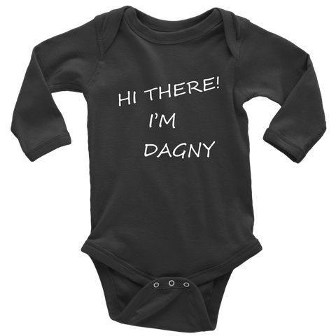 Image of Hello There Dagny Onseis T-shirt Long Sleeve Baby Bodysuit Black NB