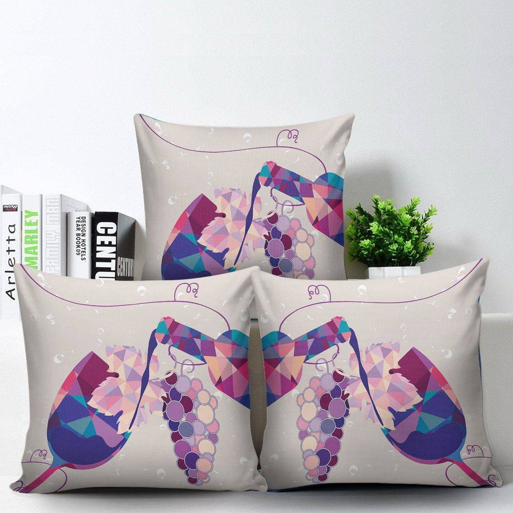 Stylish Geometric Wine Bottle and Glass Pillow Covers Pillow Case