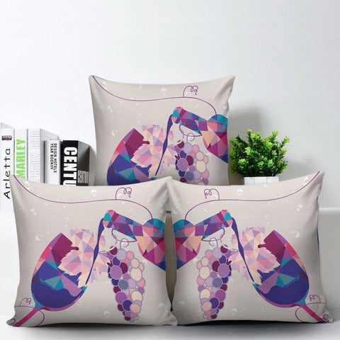 Image of Stylish Geometric Wine Bottle and Glass Pillow Covers Pillow Case