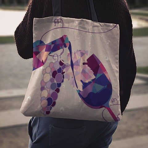 Image of Wine Bottle and Glass Tote | Perfect For Wine Lovers Tote Bag