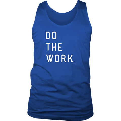 Image of Do The Work | Mens | White Print T-shirt District Mens Tank Royal Blue S