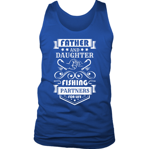 Image of Father and Daughter Fishing Partners T-shirt District Mens Tank Royal Blue S