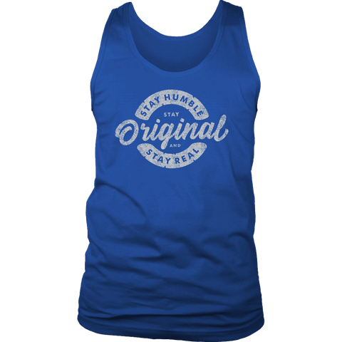 Image of Stay Real, Stay Original Mens Shirts T-shirt District Mens Tank Royal Blue S