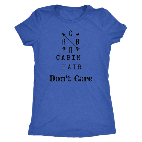 Image of CABN, Cabin Hair, Don't Care T-shirt Next Level Womens Triblend Vintage Royal S