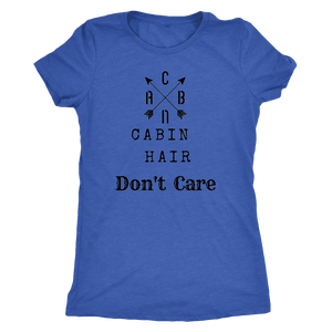 CABN, Cabin Hair, Don't Care T-shirt Next Level Womens Triblend Vintage Royal S