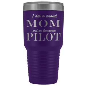 Proud Mom, Awesome Pilot Tumblers Purple