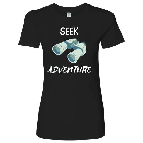 Image of Seek Adventure with Binoculars (Womens) T-shirt Next Level Womens Shirt Black S