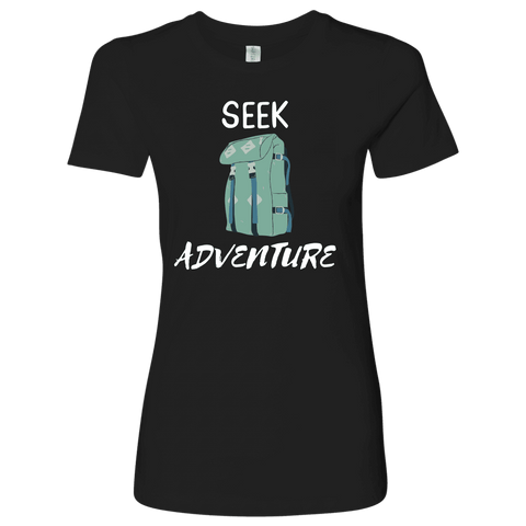 Image of Seek Adventure with Backpack (Womens) T-shirt Next Level Womens Shirt Black S
