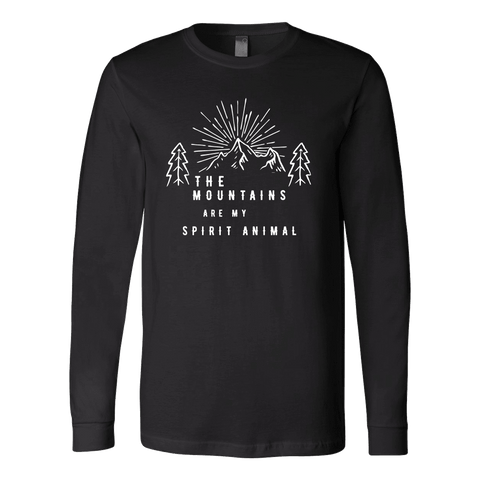 Image of Mountains Spirit T Shirt 1 T-shirt Canvas Long Sleeve Shirt Black S