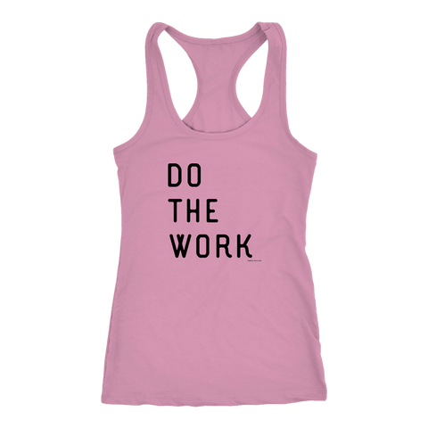 Image of Do The Work | Womens | Black Print T-shirt Next Level Racerback Tank Lilac XS