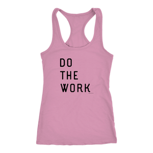 Do The Work | Womens | Black Print T-shirt Next Level Racerback Tank Lilac XS