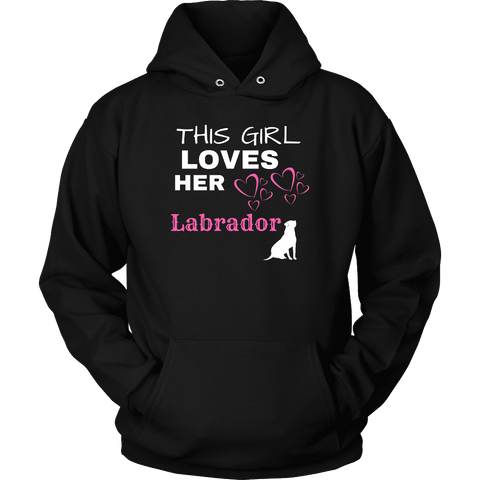 Image of This Girl Loves Her Lab T-shirt Unisex Hoodie Black S