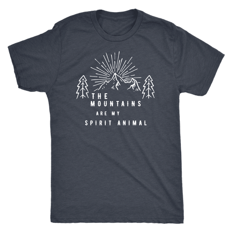 Image of Mountains Spirit T Shirt 1 T-shirt Next Level Mens Triblend Vintage Navy S