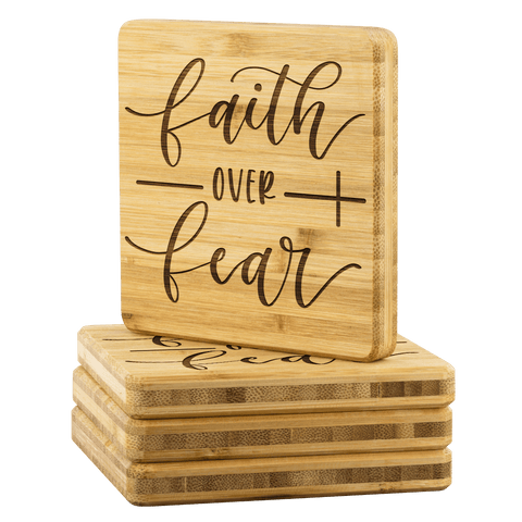 Faith over Fear Handmade Bamboo Coasters Coasters
