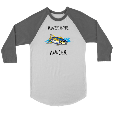 Image of You're An Awesome Angler | V.2 Chiller T-shirt Canvas Unisex 3/4 Raglan White/Asphalt S