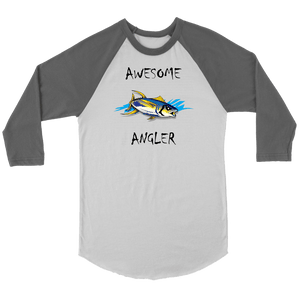 You're An Awesome Angler | V.2 Chiller T-shirt Canvas Unisex 3/4 Raglan White/Asphalt S