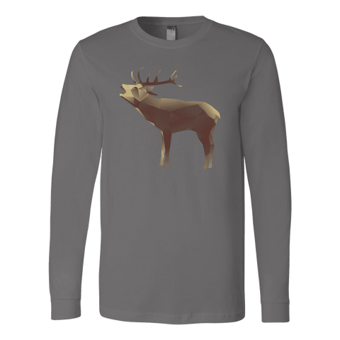Image of Large Polygonaly Deer T-shirt Canvas Long Sleeve Shirt Asphalt S