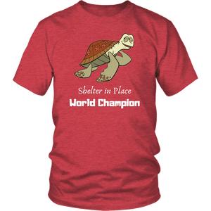 Shelter In Place World Champion, White Print T-shirt District Unisex Shirt Heather Red S