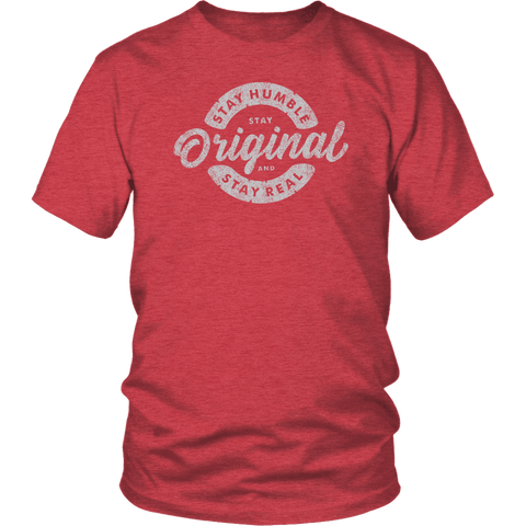 Image of Stay Real, Stay Original Mens Shirts T-shirt District Unisex Shirt Heather Red S