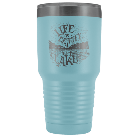 Image of Life is Better at the Lake | 30 oz. tumbler Tumblers Light Blue