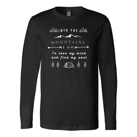Image of Into the Mountains I Go T-shirt Canvas Long Sleeve Shirt Black S
