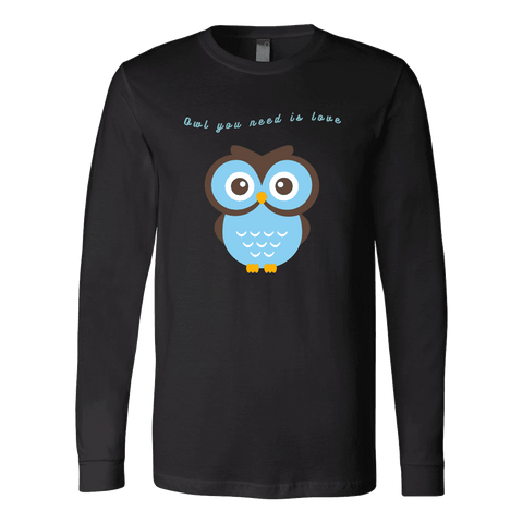Image of Owl You Need is Love T-shirt Canvas Long Sleeve Shirt Black S