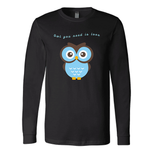 Owl You Need is Love T-shirt Canvas Long Sleeve Shirt Black S