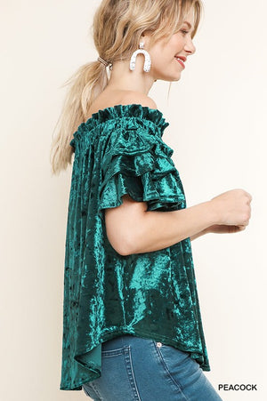 Off Shoulder Velvet Ruffle Top