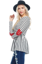 Stripe Babydoll Tunic Top