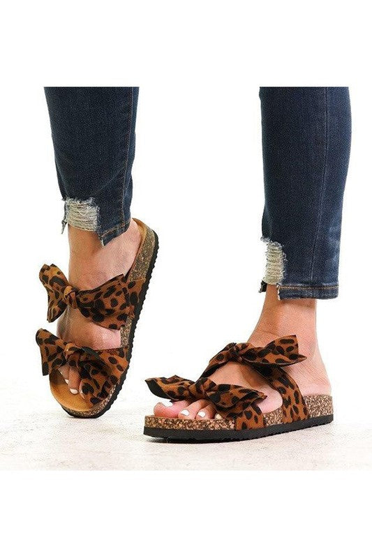 Ribbon Top Leopard Slides