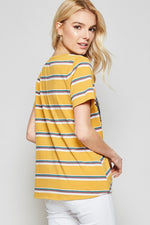 Stripe Embroidered Knit Tee