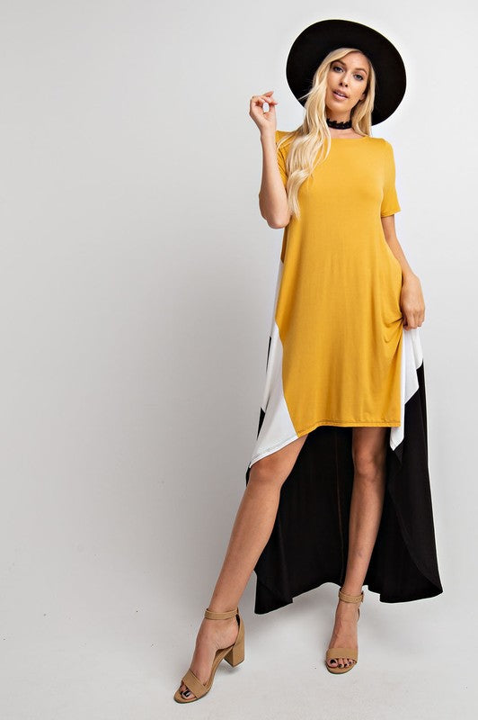 Hi-Lo Short Sleeve Colorblock Maxi