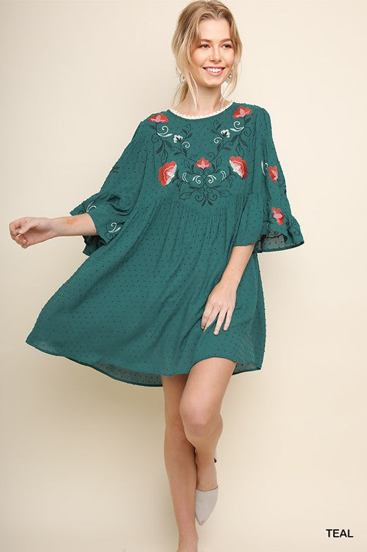 3/4 Bell Sleeve Embroidered Dress