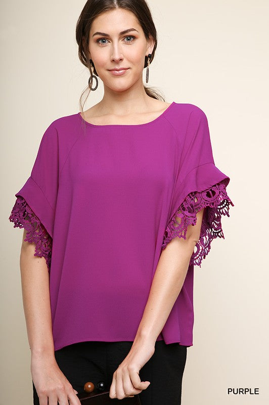 Layered Ruffle Crochet Trim Top