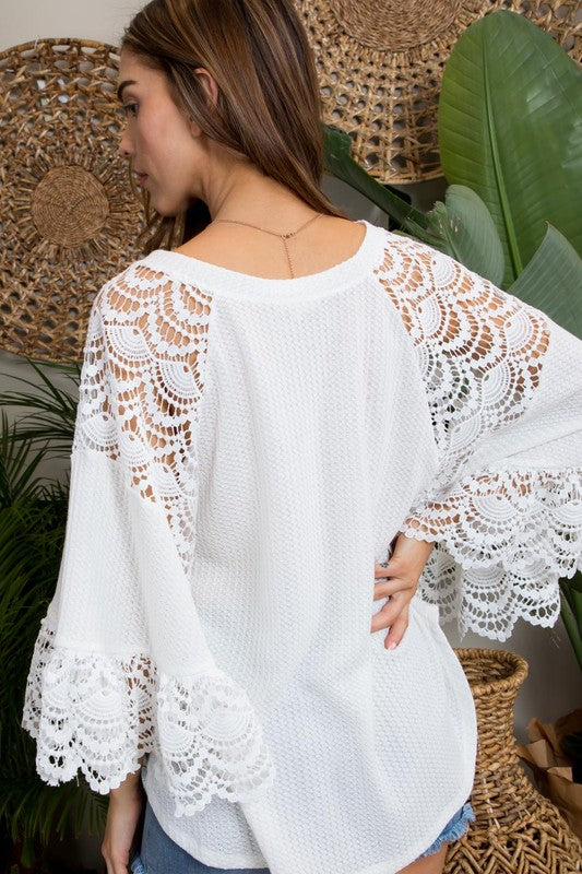 Lace Butterfly Sleeve Top