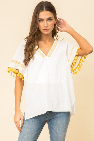 Tassel Sleeve Boxy Top